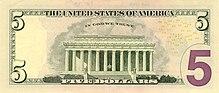 US $5 Series 2006 reverse