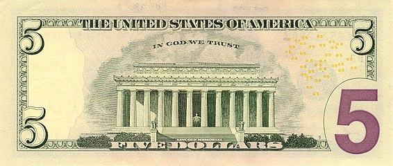 United States Five Dollar Bill Reverse Series 2006 With In We Trust Motto