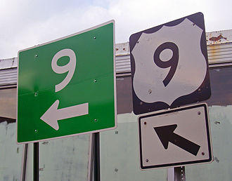 U.S. Route 9 in New York - Two signs indicating the highway's turn at the NY 448 junction.