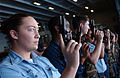 US Navy 040607-N-2788L-072 Sailors temporarily assigned to the Security Department aboard USS Ronald Reagan (CVN 76) await instructions prior to completing a weapons familiarization course.jpg