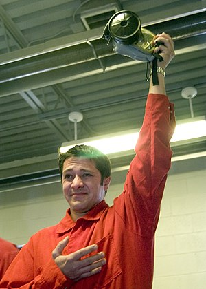 David Stremme - Stremme holding a MCU-2/P Protective Mask during a visit to Naval Station Great Lakes in 2005