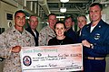 US Navy 050120-N-8668H-045 People display a check representing $10,000 raised by Sailors and Marines during the Blue-Green Tsunami Relief Fund Drive.jpg