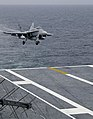 US Navy 050331-N-5884M-092 An F-A-18C Hornet prepares to make the first fixed-wing aircraft recovery aboard USS Dwight D. Eisenhower (CVN 69), in four years.jpg