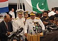 US Navy 060424-N-9380A-134 Combined Forces Maritime Component Commander Vice Adm. Patrick Walsh and Commander, Combined Task Force One Five Zero (CTF-150), Pakistani Rear Adm. Shahid Iqbal speaks to the media.jpg