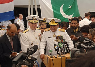 War in North-West Pakistan order of battle - Image: US Navy 060424 N 9380A 134 Combined Forces Maritime Component Commander Vice Adm. Patrick Walsh and Commander, Combined Task Force One Five Zero (CTF 150), Pakistani Rear Adm. Shahid Iqbal speaks to the media