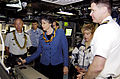 US Navy 070504-N-8467N-007 Gov. Linda Lingle, Governor of the State of Hawaii and the sponsor for PCU Hawaii (SSN 776), tries the parascope out during a tour of the submarine.jpg