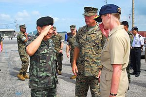 John F. Goodman - US Navy Commander, Task Force 76, Rear Adm. Carol M. Pottenger salutes Gen. Kemarat Kanchanawat, Royal Thai Armed Forces, Deputy Chief of the Joint Staff, with Lt. Gen. John F. Goodman, U.S. Marines