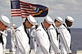 US Navy 070618-N-5387K-025 USS Kitty Hawk (CV 63) Honor Guard bow their heads during a burial at sea ceremony.jpg