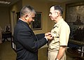 US Navy 070928-N-0696M-103 Chief of Naval Operations (CNO), Adm. Mike Mullen is named an honorary master chief by Master Chief Petty Officer of the Navy (MCPON), Joe R. Campa.jpg