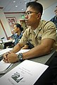 US Navy 101007-N-0995C-001 Hospital Corpsman 2nd Class Paul Barnachea attends training for the annual Combined Federal Campaign at Bldg. 89 at Nava.jpg