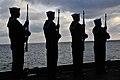US Navy 110409-N-0074G-063 Sailors perform a gun salute during a burial at sea aboard USS Enterprise (CVN 65).jpg