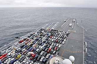 Flight deck - Cars parked on an aircraft carrier flight deck