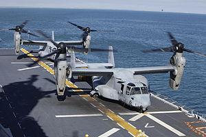 US Navy 120131-M-DK975-095 An MV-22 Osprey tiltrotor aircraft lands aboard the amphibious assault ship USS Kearsarge (LHD 3) during exercise Bold A.jpg