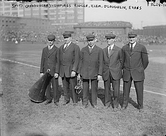 Baker Bowl - The umpires lined up before a game of the 1915 World Series at the Baker Bowl.