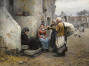 Daniel Ridgway Knight - Un Deuil by Daniel Ridgway Knight, Oil on Canvas, 1882