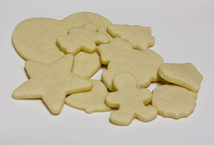 English: Home-baked cut-out sugar cookies, und...