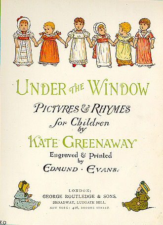 Kate Greenaway - Title page of Under the Window (1879)