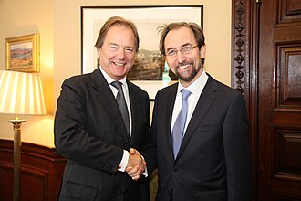 Zeid Raad Al Hussein - British Foreign and Commonwealth Office Minister Hugo Swire meeting Zeid in London, 12 October 2015