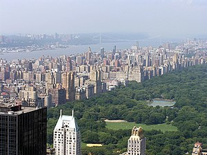 Upper West Side - The Upper West Side and Central Park as seen from the Rockefeller Center Observatory. In the distance is the Hudson River and George Washington Bridge.
