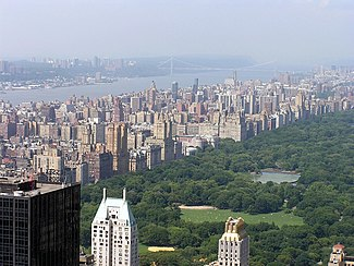 the upper west side and central park as seen from the rockefeller center observatory in the distance is the hudson river and george washington bridge