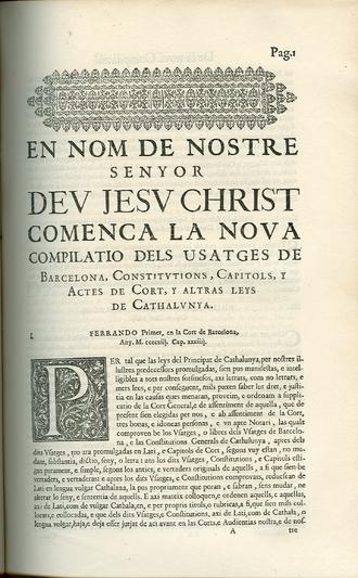 "Princeps namque - Compilació dels usatges (""Compilation of Usages"") of 1413."