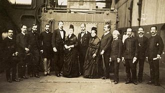 Imperial Brazilian Army - Prince Gaston, Count of Eu and Isabel, Princess Imperial along with officials visiting the plant dedicated to the manufacture of military weapons, 1886