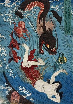 Utagawa Kuniyoshi Tamatori escaping from the Dragon King
