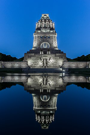Monument to the Battle of the Nations - The monument at night in 2015
