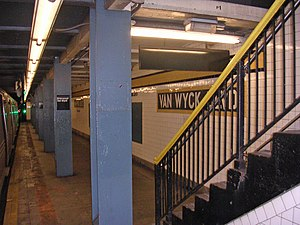 "Briarwood (IND Queens Boulevard Line) - One of the platforms with the old ""Van Wyck Boulevard"" mosaic."
