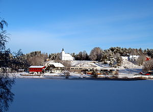 Vennesla - View of the village of Hægeland and Hægeland Church