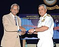 Vice Admiral Satish Soni handing over a memento to Ambassador Yogendra Kumar IFS (Retd).jpg