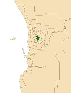 Electoral district of Victoria Park - Location of Victoria Park (dark green) in the Perth metropolitan area