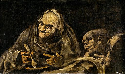 Viejos comiendo sopa