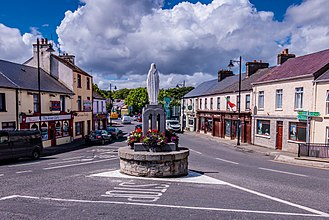 Crossmolina - Image: View of the statue at the centre of the town of Crossmolina, County Mayo, Ireland