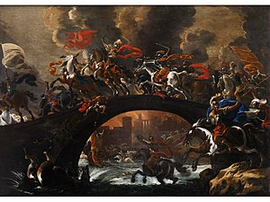 Vincent Adriaenssen - Battle with cavalry on a bridge