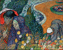 A squarish painting of a closeup of two women with one holding an umbrella while the other woman holds flowers. Behind them is a young woman who is picking flowers in a large bed of wildflowers, they appear to be walking through a garden on a winding path at the edge of a river.