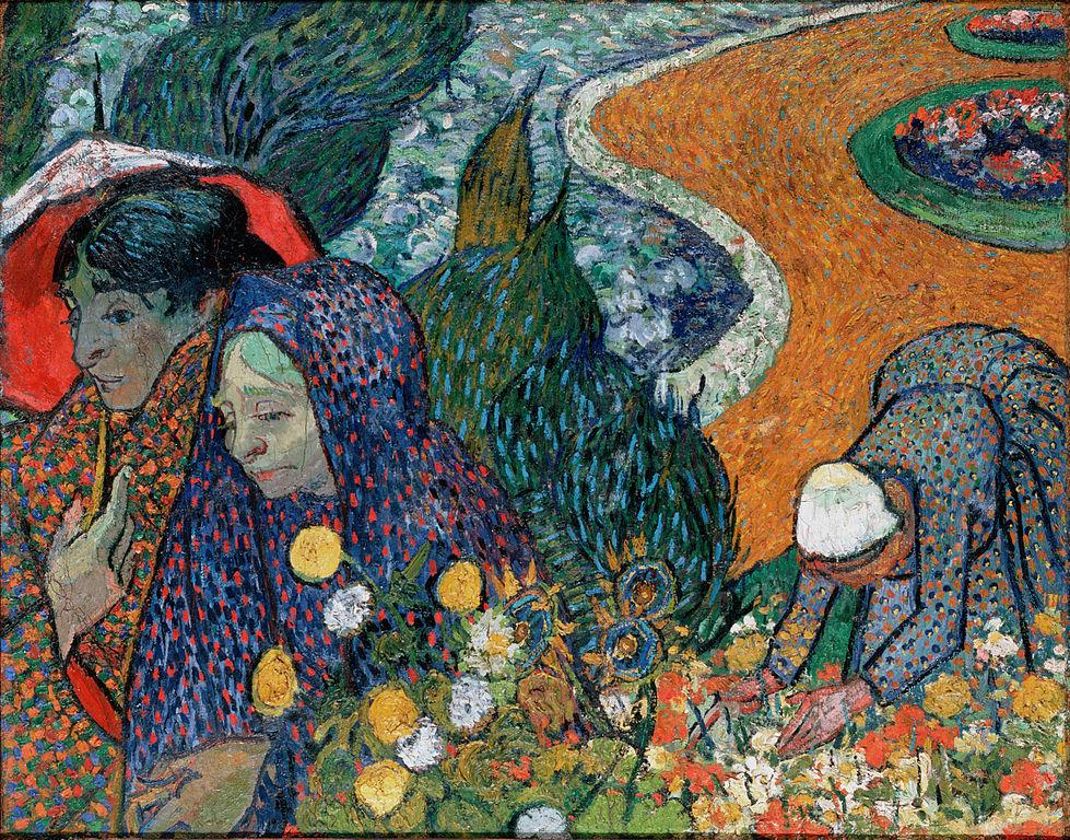 Souvenir du Jardin à Etten (Femmes d'Arles) de Van Gogh (1888) au Musée de l'Ermitage à Saint Petersbourg.