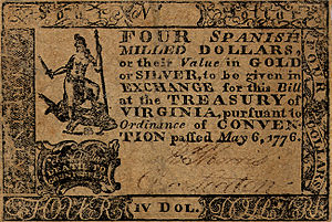 Virtus (deity) - U.S. Continental currency Virginia four-dollar note of 1776 (obverse) with Virtus at the left