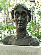 Bronze cast of Stephen Tomlin's bust of Virginia Woolf (1931) in Tavistock Square