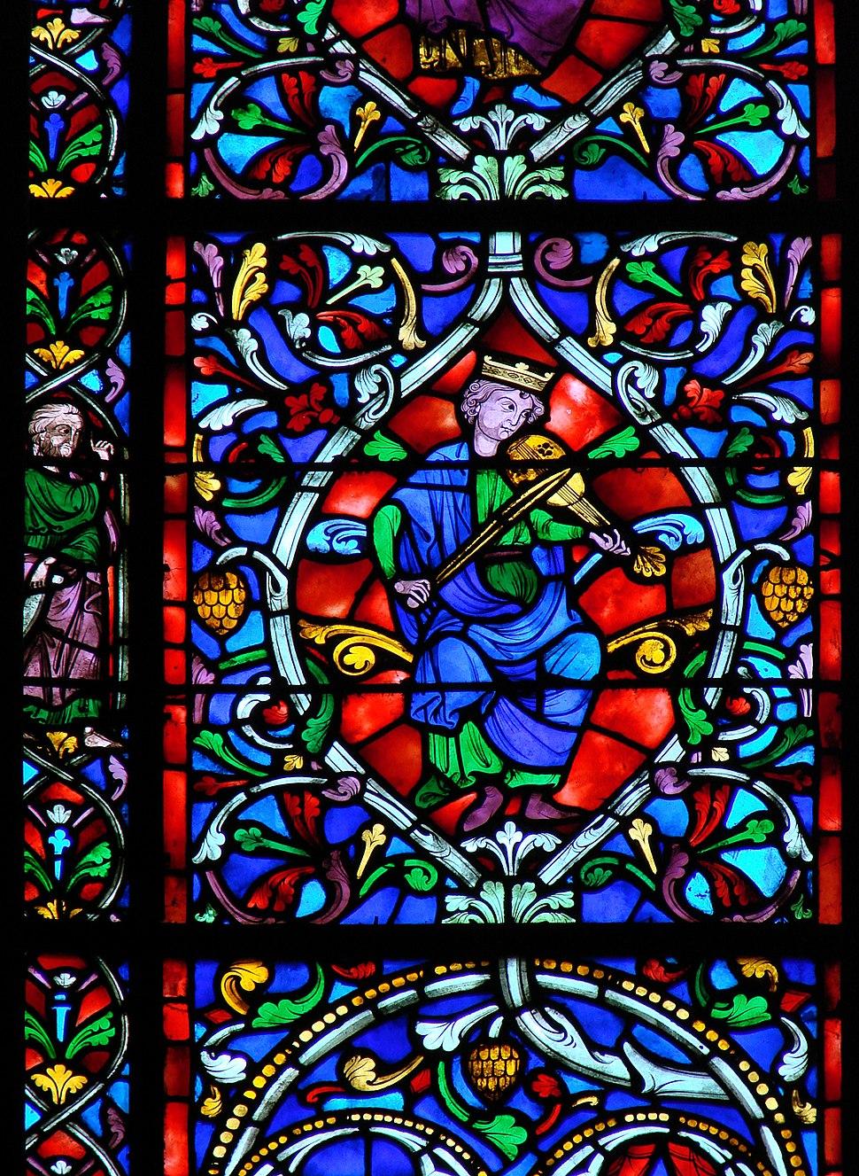 Vitrail du 19ème siècle Le Roi David Reims 020208 01