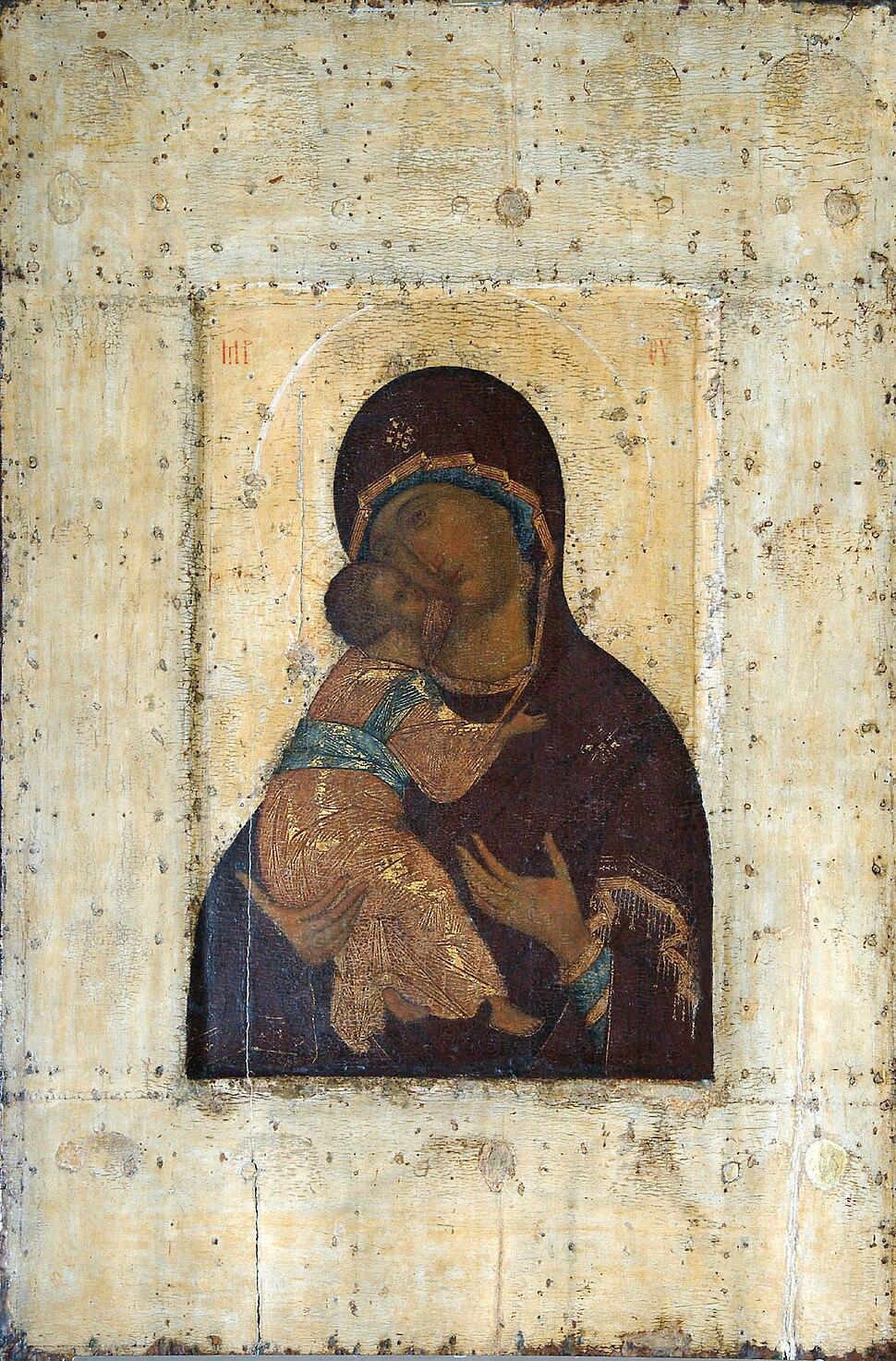 Vladimirskaya by A.Rublev (1395-1410s, Vladimir museum)