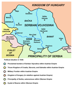 Proclaimed borders of Serbian Vojvodina in 1848 (including Western Banat)