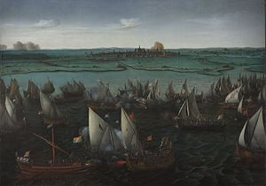 Geuzen - Battle between Dutch and Spanish ships on the Haarlemmermeer, 26 May 1573. Sailing before the wind from the right are the Spanish ships, identified by the flags with a red cross. Approaching from the left are the ships of the Sea Beggars. Hendrick Cornelisz Vroom.