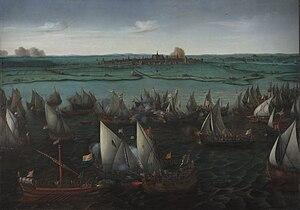 Battle of Haarlemmermeer - Battle of Haarlemmermeer circa 1621 by Hendrick Cornelisz Vroom, oil on canvas. Rijksmuseum.