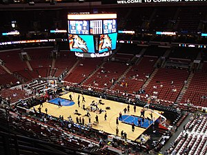 Wells Fargo Center (Philadelphia) - Wells Fargo Center prior to a 76ers game vs the New Jersey Nets (now Brooklyn Nets) on the old floor design.