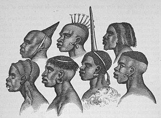 Nyamwezi people - Wanyamwezi hairstyles, circa 1860