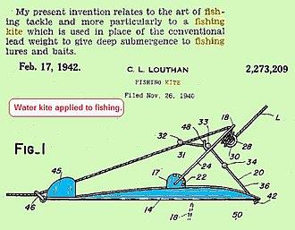 Kite fishing - Image: Waterkite Fishing Kite US Pat 2273209