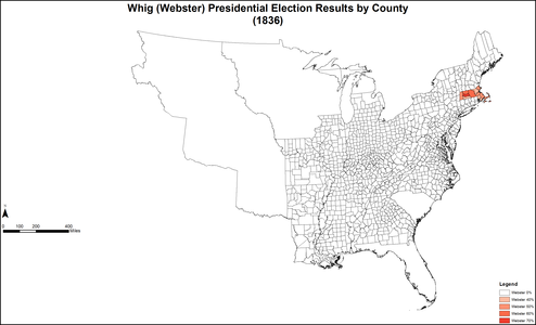 Map of Webster Whig presidential election results by county