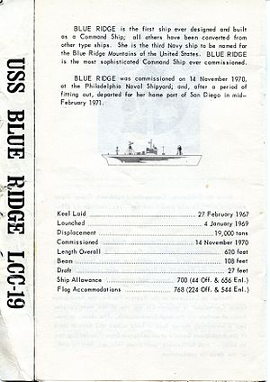 USS Blue Ridge (LCC-19) - Original Specifications