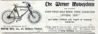 Werner Motors - Motocyclette advertisement from 1900